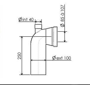 pipe longue en pvc pour raccordement wc regiplast. Black Bedroom Furniture Sets. Home Design Ideas