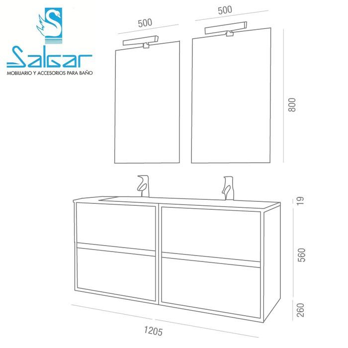 salgar ensemble meuble noja 1200. Black Bedroom Furniture Sets. Home Design Ideas