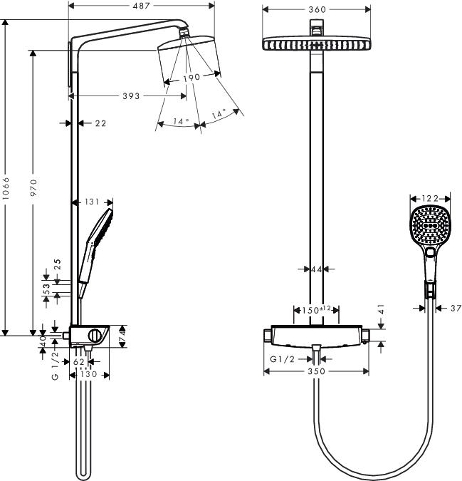 Mischbatterie Dusche Tropft : Mischbatterie Dusche Tropft : AXOR CARLTON Thermostatische Dusche