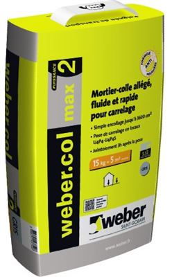 Photo de l'article WEBER ET BROUTIN Mortier-colle pour carrelage (C2 FG U4P4S) WEBER.COL MAX 2