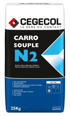 Mortier colle pour carrelage c2 et carrosouple n2 cegecol for Colle souple pour carrelage