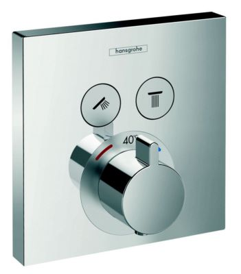 Photo de l'article HANSGROHE Set de finition pour mitigeur thermostatique ShowerSelect E encastré avec 2 fonctions