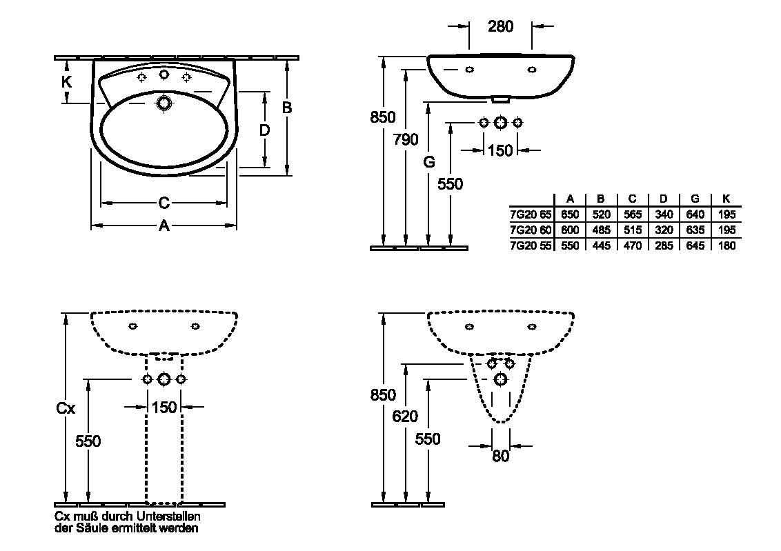 informations techniques du produit lavabo volta - Dimension Lavabo Salle De Bain