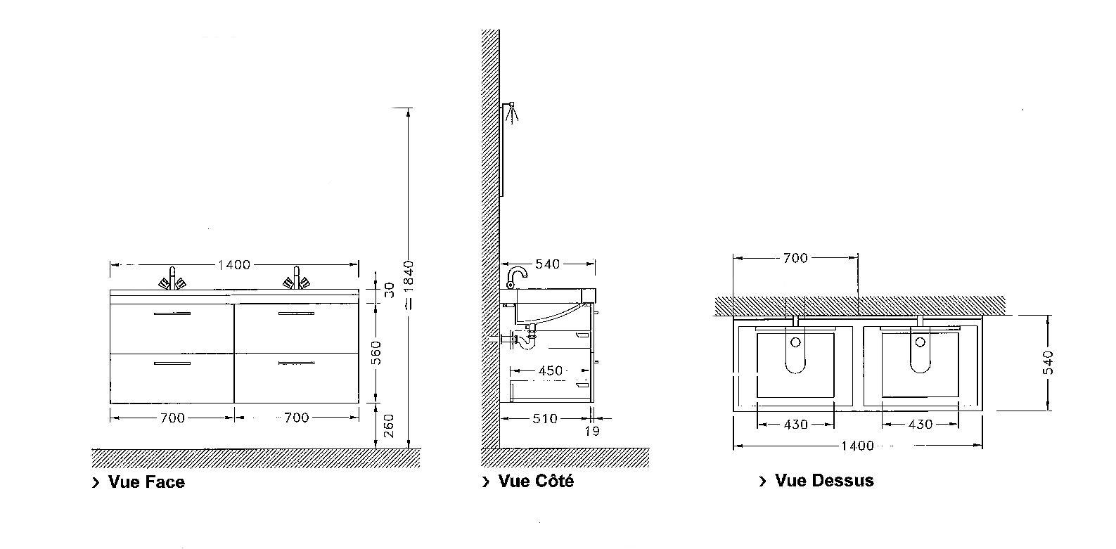 Meuble sous vasque loft 4 tiroirs de 140 cm discac - Tiroir suspendu sous plan de travail ...