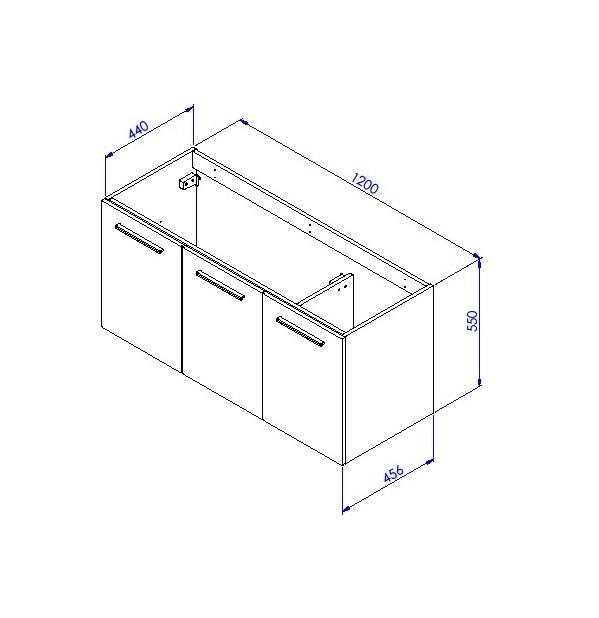 Meuble sous vasque 3 portes 120 cm srie adesio 3 for Ensemble evier et meuble sous evier 120 cm