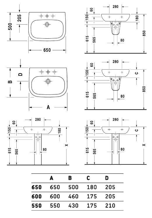 Lavabo d code duravit for Lavabo profondeur