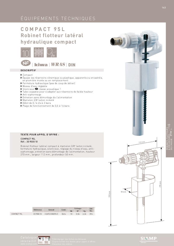 Robinet Flotteur Compact 95 L Siamp