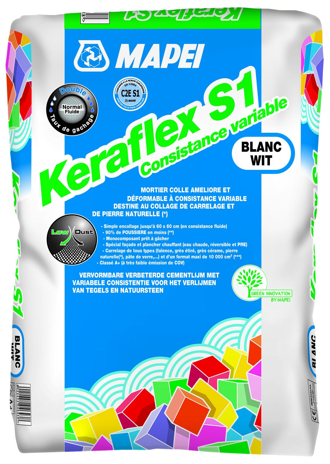 Mortier colle pour carrelage c2 s1 eg keraflex s1 mapei for Colle carrelage c2