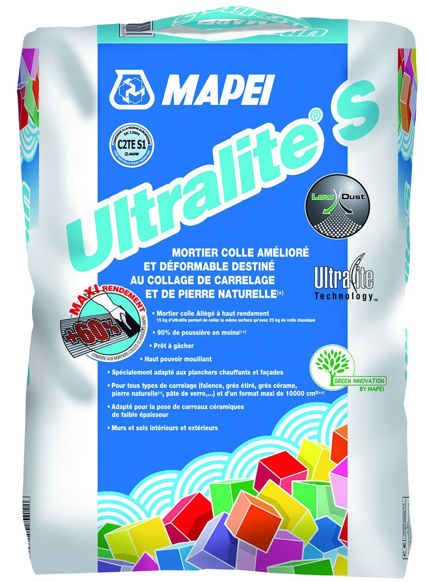 Mortier colle pour carrelage c2 s1 et ultralite s1 mapei for Colle carrelage c2