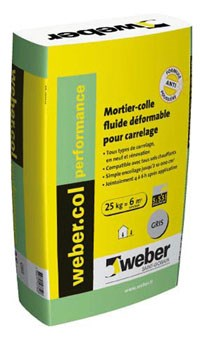 Mortier colle dformable pour carrelage c2s1 eg weber col for Prix colle carrelage weber