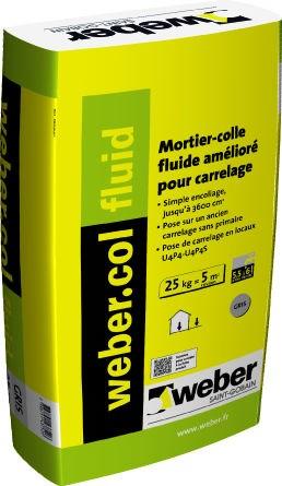 Mortier colle pour carrelage c2 weber col fluid weber for Colle a carrelage weber prix