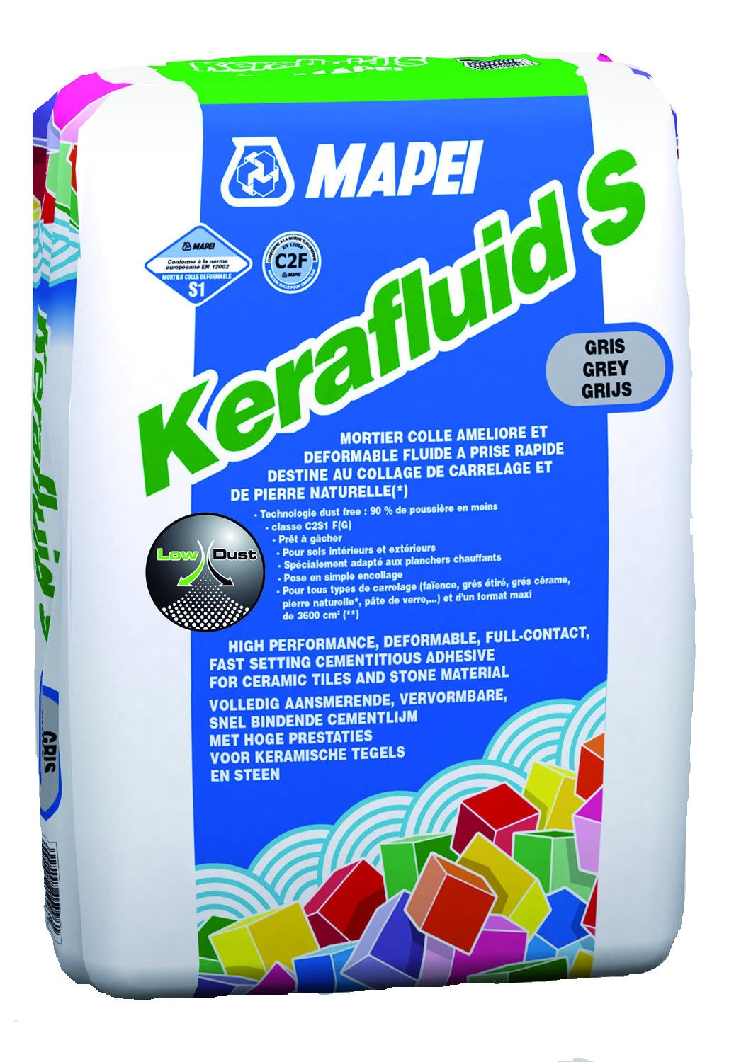 Mortier colle dformable pour carrelage c2 kerafluid s mapei for Carrelage qui colle