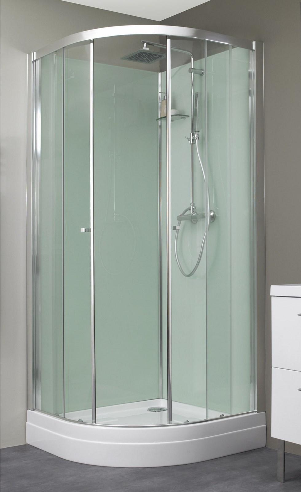 Cabine de douche eden r 1 4 de rond kinedo - Monter une cabine de douche d angle ...