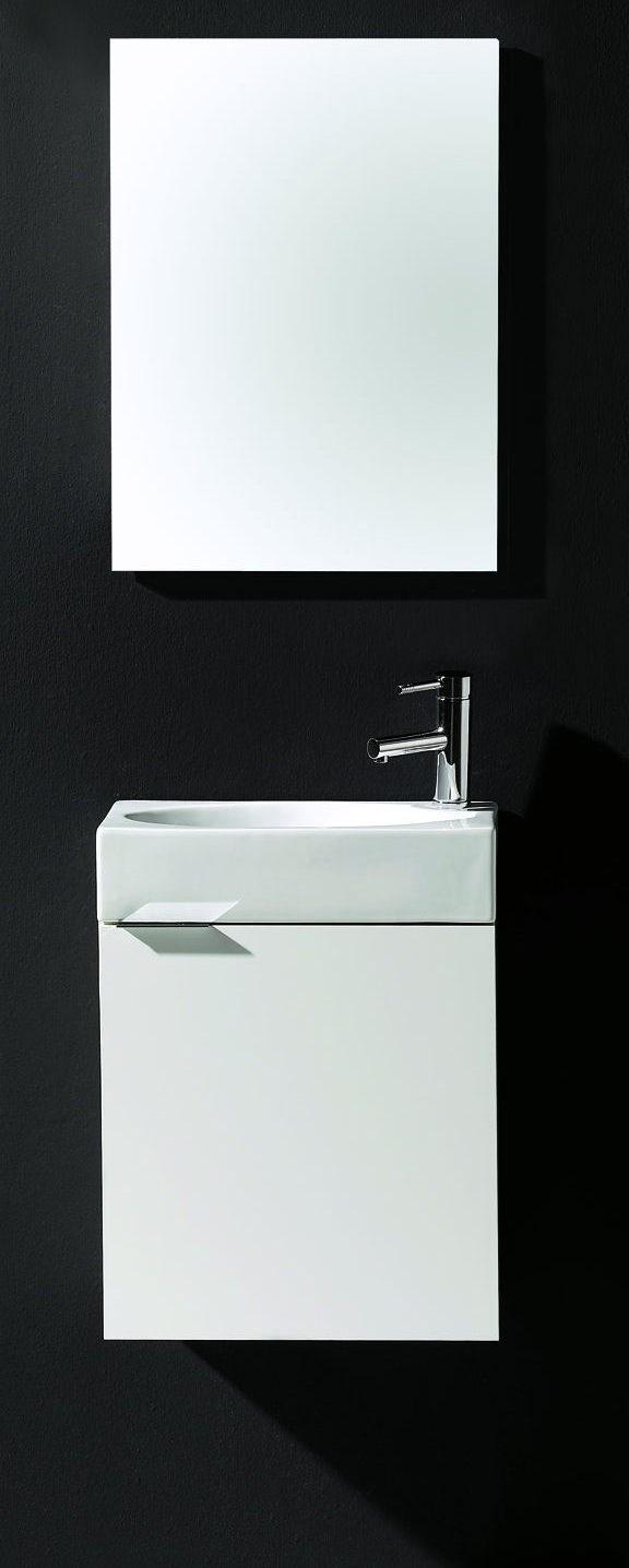 Meuble wc smart 45 avec lave mains et miroir royo royo - Petit lave main wc avec meuble ...