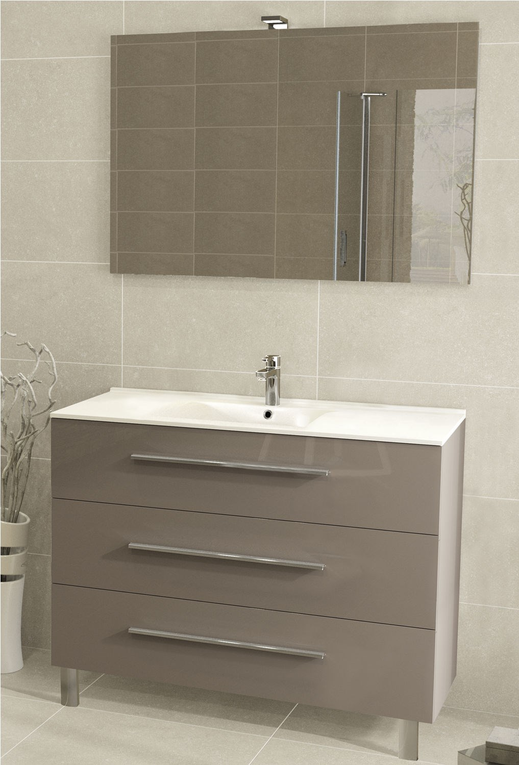 Stunning meuble double vasque 100 cm contemporary design for Meuble salle bain double vasque