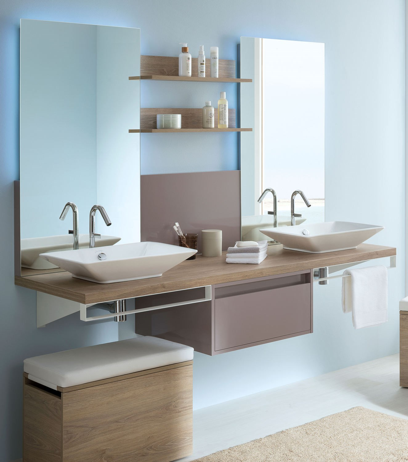 Ensemble meuble mix city sanijura for Meuble salle de bain porte