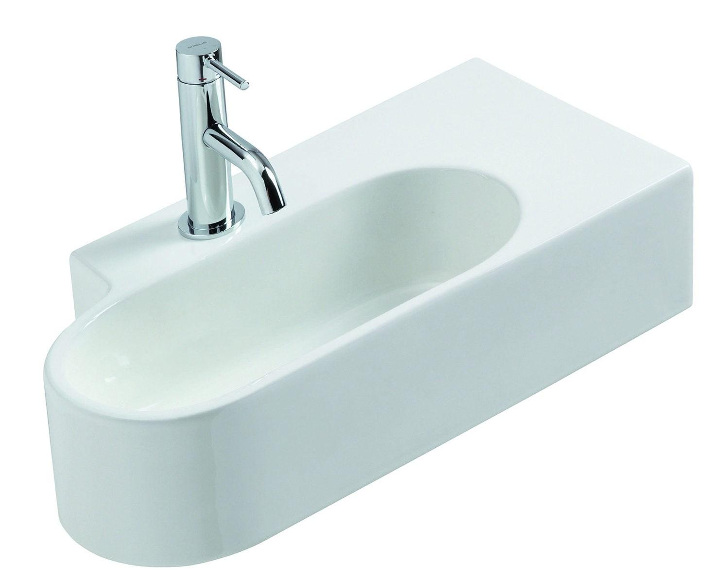 Vasque Céramique à Suspendre Avec Plage Latérale : Lave mains à suspendre scylla j s aquatop
