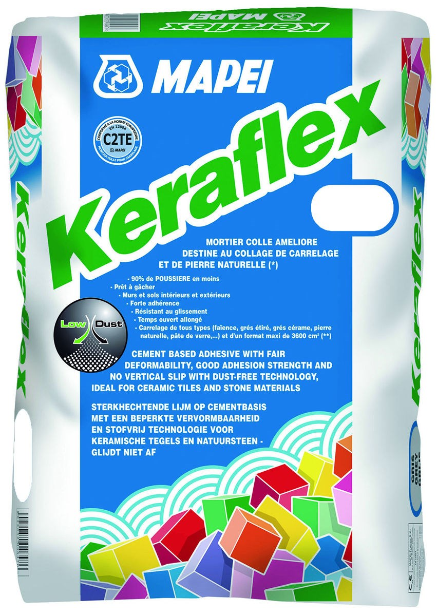 Mortier colle pour carrelage c2 eg keraflex mapei for Colle souple pour carrelage
